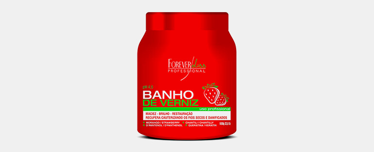 Produtos profissionais para cabelo   Máscara Banho de Verniz Morango - Forever Liss   Blog Sieno