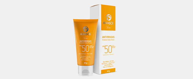 Rotina de cuidados com a pele | Anasol Protetor Solar Facial Fps50 Antirrugas Oil Free | Blog Sieno